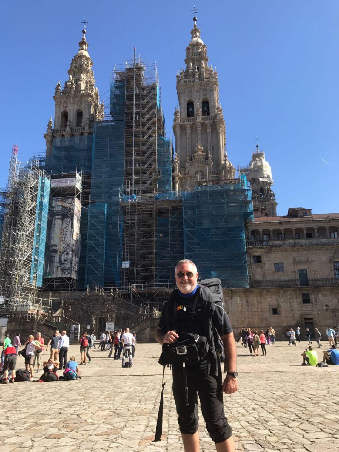 Jorge Abello en la Plaza del Obradoiro, en Santiago de Compostela 2017